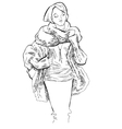Sketch of girl wearing in winter clothes vector image