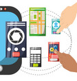 smartphone with different electronic tools vector image