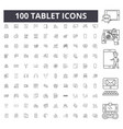 tablet line icons signs set outline vector image vector image