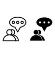 two people dialogue line and glyph icon two users vector image vector image