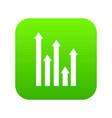 upside growing arrows icon digital green vector image vector image