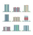 modern city apartment buildings flat set vector image