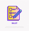 ballot document with mark and pencil line icon vector image