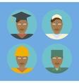 Black female professionals icon set vector image
