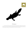 black silhouette of platypus on a white background vector image vector image