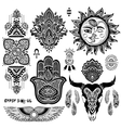 Bohemian style flash tattoo symbols vector image vector image