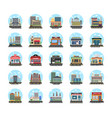 business buildings flat icons vector image vector image