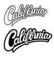 california lettering phrase on white background vector image vector image