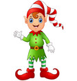 christmas boy elf cartoon vector image vector image