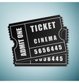 Cinema black ticket icon isolated on blue vector image vector image