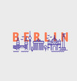 city berlin in outline style on white vector image vector image