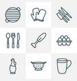 culinary icons line style set with mug knife set vector image