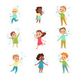 cute boys and girls blowing soap bubbles set vector image vector image