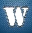 Denim jeans letter W vector image vector image