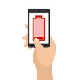 empty battery life of smartphone red accumulator vector image