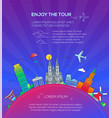 enjoy the tour - flat design travel composition vector image vector image