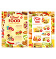 fast food and street food meals menu vector image vector image