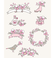 Floral doodle design elements with pink orchids vector image