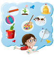girl thinking of favorite things vector image vector image