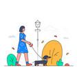 girl walking a dog - modern flat design style vector image