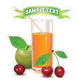 glass for juice from ripe cherries and green apple vector image
