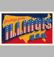 greetings from illinois usa retro style postcard vector image vector image