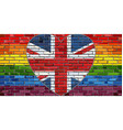 grunge flag of great britain on a brick wall vector image vector image
