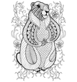 hand drawn artistic marmot groundhog in flowers vector image vector image