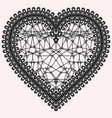 heart with lace pattern ornate element for design vector image vector image
