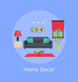 home decor sample bright interior colorful card vector image vector image