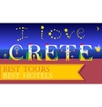 I love Crete Inscription Holiday houses Font vector image