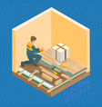 isometric interior repairs concept repairer is vector image