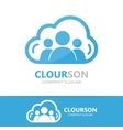 logo combination a cloud and people vector image
