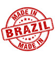 made in brazil red grunge round stamp vector image