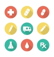 Medical flat design long shadow icons set vector image vector image