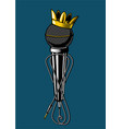 microphone with kings crown vintage music poster vector image vector image