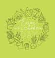monogram pots with plants enjoy flower light green vector image vector image