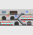 multi-level subway station vector image