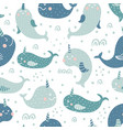 narwhal pattern vector image