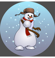 Naughty fun snowman throwing snow lump Festive vector image vector image