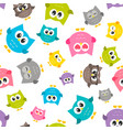pattern with colorfull owls vector image vector image