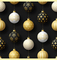 realistic christmas seamless pattern with gold vector image vector image