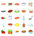 romantic dinner icons set cartoon style vector image vector image