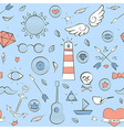 Sea doodle seamless hipster pattern over light vector image