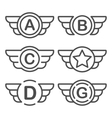 set emblems with wings vector image vector image