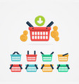 set of colored shopping basket vector image vector image