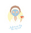 spa girl blue clay mask vector image