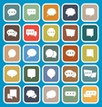 Speech Bubble flat icons on blue background vector image vector image