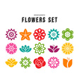 Spring flower icon set with colorful flat designs vector image