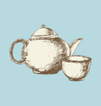 tea pot and cup vector image